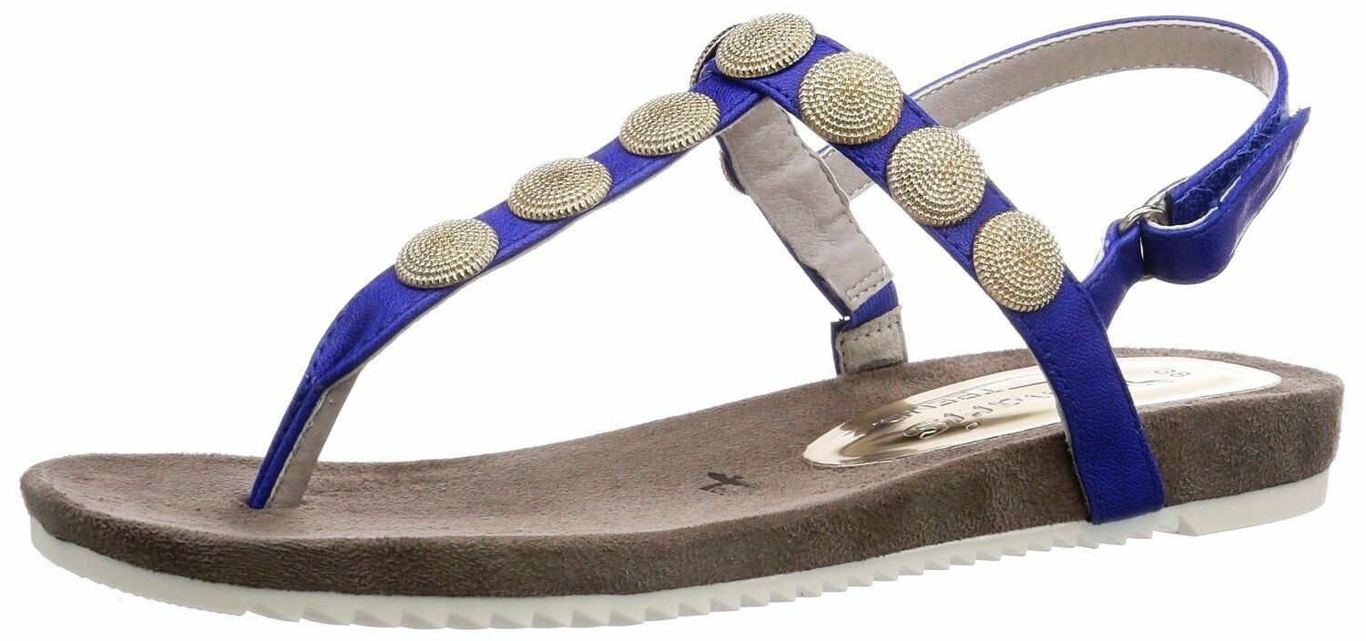 Tamaris Womens UK 5 to 8 Royal bluee Embellished Slingback Toe Post Thong Sandals