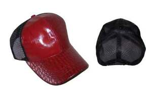 987c6417c83 Faux Leather Mesh Baseball Trucker Hats Caps For Adults - Burgundy ...