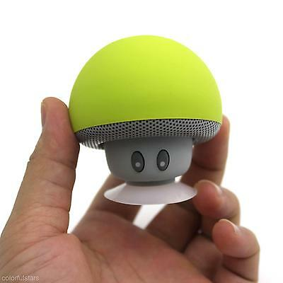 Green Portable Mushroom Wireless Bluetooth Speaker with Suction Cup for Laptop