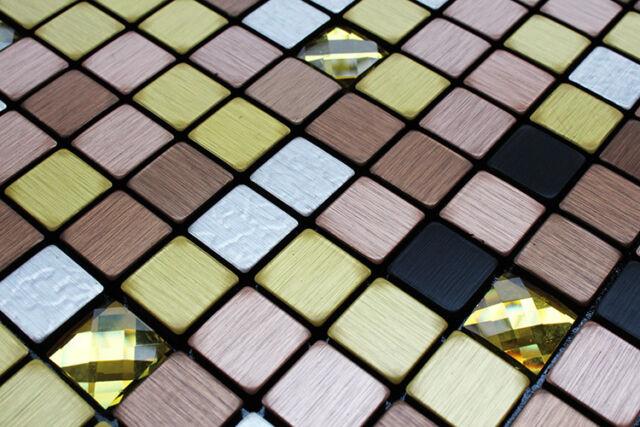 Sample Multi-Color Metal Particle Gold Crystal Self Adhesive DIY Mosaic Tile
