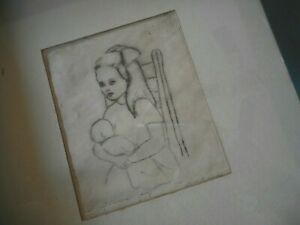 drypoint engraving etching Framed Girl w Baby unknown artist Sue K news ?