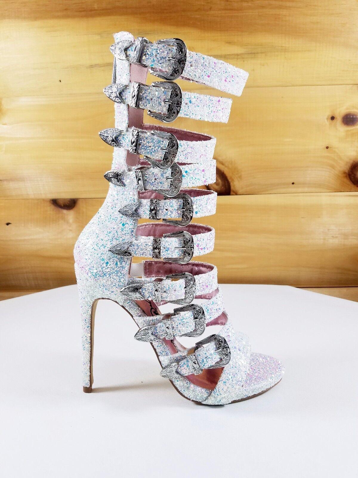 Nelly Bernal  Wavy Multi Strap High Heels chaussures bottes blanc Multi Ice Glitter