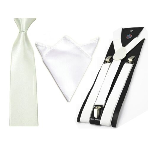 Mens Solid Color Elastic Suspenders Braces Tie Necktie Handkerchief Hanky Set