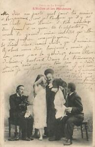 1902-FRANCE-YOUNG-GIRL-in-NIGHTDRESS-with-3-OLDER-MEN-POSTCARD-USED