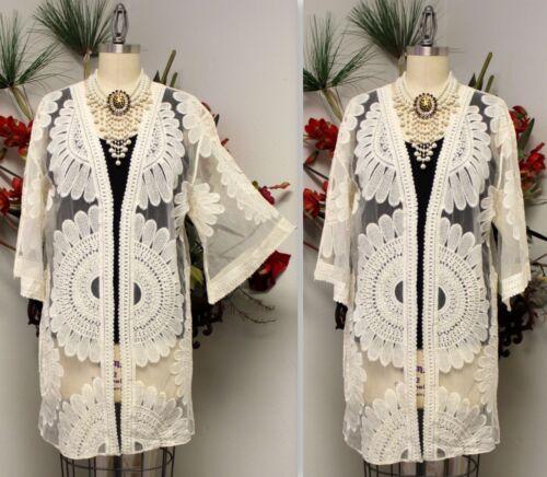 M Open Jacket Sizes S Stunning Handmande Embroidered Net Duster Trendy L