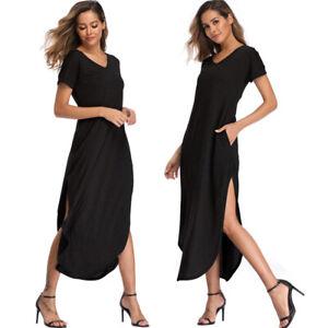 Women-039-s-Loose-Short-Sleeve-Split-Dress-Kaftan-Soild-Long-Maxi-Beach-Casual-Dress