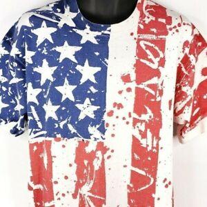 Vintage T Shirt  Stars American Flag Vintage Style Boutique T-Shirt Mens Medium