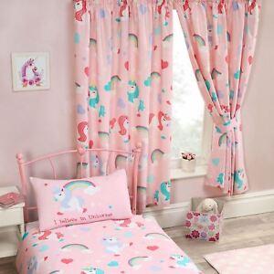 I-Believe-en-Licornes-Rose-Rideaux-Double-66-034-x-54-034-Enfants-Filles-Chambre