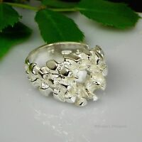 8mm Round Mens Heavy Nugget Sterling Silver Pre-notched Ring Setting