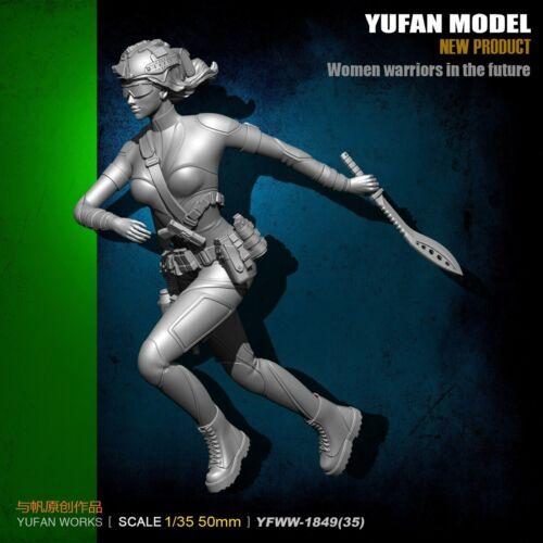 1:35 FEMALE Warriors in the Future Figure resin scale Unassembled model 50mm