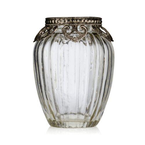 Ribbed Vintage Style Glass Tea Light Candle Holder Wedding Decoration Antique