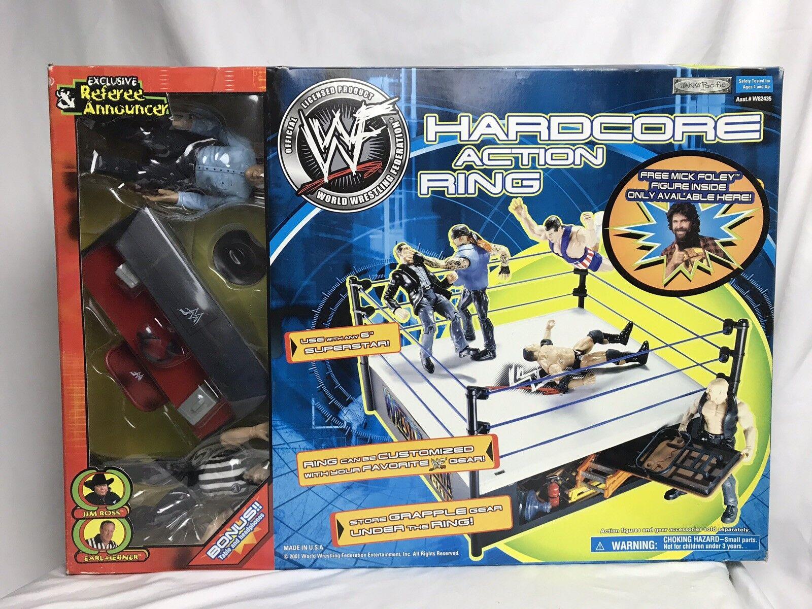 Anillo de lucha de acción hardcore WWF WWE Mick Foley Jim Ross Earl Hebner figura