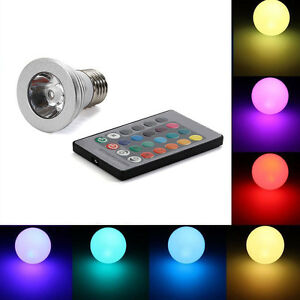 3w rgb led birne farbwechsel strahler bunte gl hlampe licht fernbedienung e27 ebay. Black Bedroom Furniture Sets. Home Design Ideas