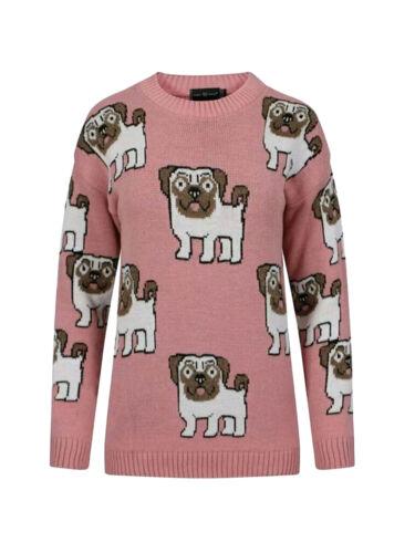 Women/'s Ladies Pug Dog Multi Print Long Sleeve Crew Neck Knitted Top Jumper 8-14