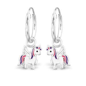 b0acc06d1 Image is loading 925-Sterling-Silver-Unicorn-Sleeper-Hoop-Earrings-Kids-