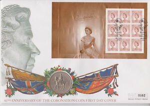 MERCURY-GB-PNC-COIN-COVER-1998-45TH-ANNIVERSARY-OF-CORONATION-1953-5-SHILLING