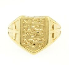 9Carat Yellow Gold 3 Lions/ England Signet Ring (Size N) Approx 13x10mm Head
