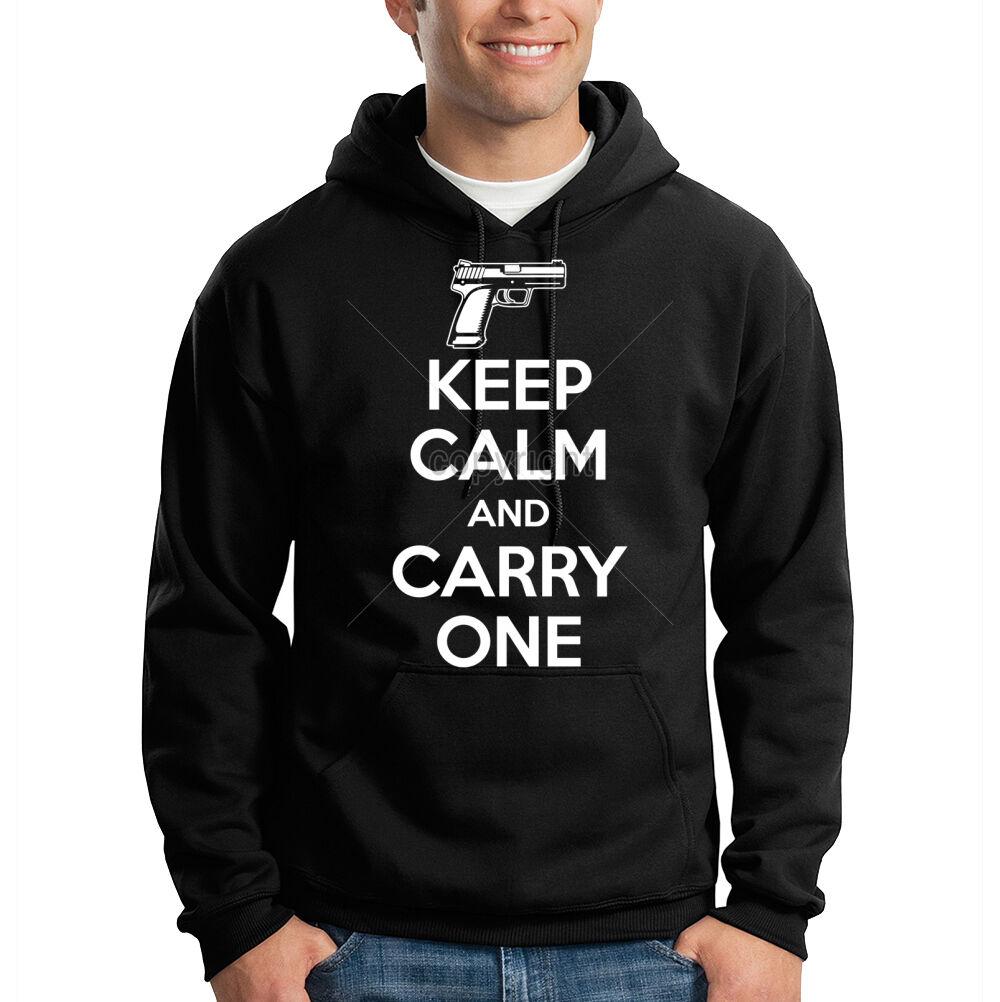Keep Calm & Carry One 2nd Amendment Gun Rights Freedom Hooded Sweatshirt Hoodie