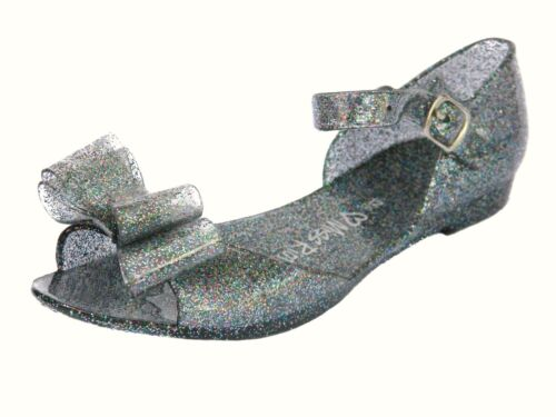 Girls Jelly Sandals Shoes Size 12 to 4Available in Black Pink /& Pine Glitter
