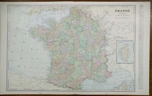 Vintage-1900-FRANCE-Atlas-Map-22-034-x14-034-Old-Antique-Original-ALSACE-BORDEAUX