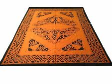 Heavy quality orange Celtic Knotwork throw 6ft x9ft Bed spread cover Pagan drape