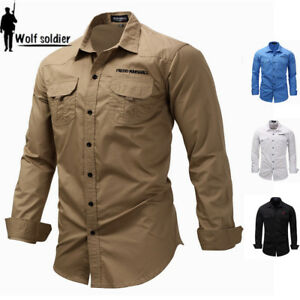 Mens-Long-Sleeve-Cargo-Casual-Shirts-Army-Military-Tactical-Combat-Sport-Top