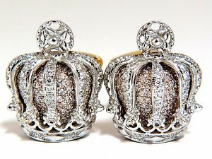 Posh-Britt-3D-Royal-Crown-6-00ct-Diamonds-Cufflinks-18Kt-Kingship