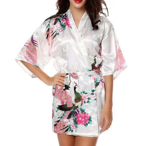 Women Silk Satin Kimono Robe Wrap Dress Gown Bridesmaid^Sleepwear-Bathrobe Beach