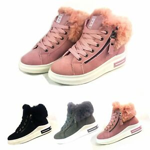 LADIES-WOMEN-ARMY-COMBAT-FLAT-GRIP-SOLE-FUR-LINED-WINTER-ANKLE-BOOTS-SHOES-SIZE