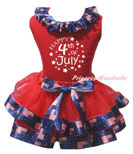 Happy 4th July Red Top America USA Flag Satin Trim Skirt Girls Outfit Set NB-8Y