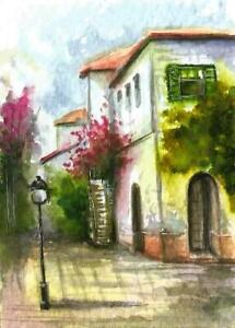 ACEO-city-street-garden-painting-flowers-original-landscape-watercolor-art-card