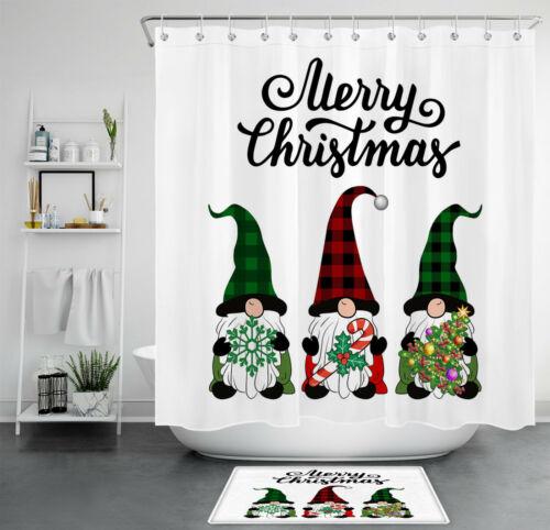 Christmas Halloween Dwarf Elf Bathroom Decor Shower Curtain Set Polyester Fabric