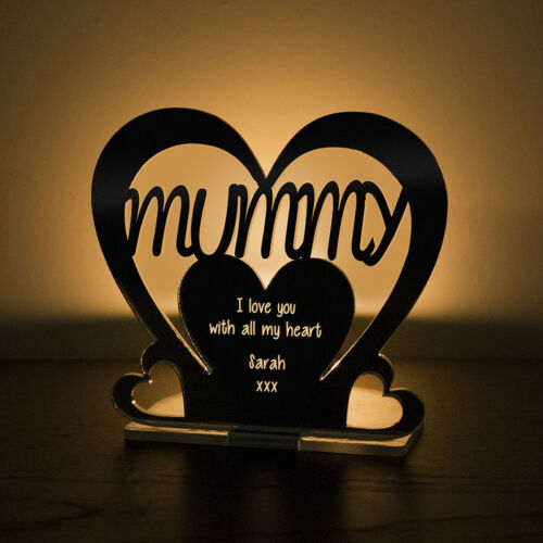 Personalised Tea Light Heart Candle Holder For MUMMY Birthday Mother/'s Day Gift