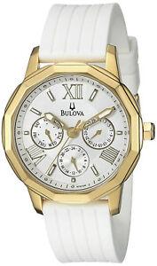 Bulova-97N108-Dress-White-Dial-white-Silicone-Strap-Multifunction-Women-039-s-Watch