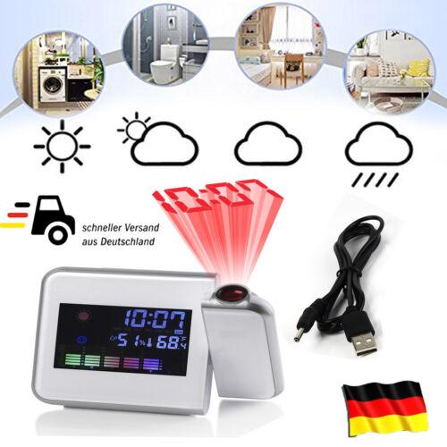 Funk Wetterstation Digital Thermometer Hygrometer Uhr Wecker Farbdisplay Display