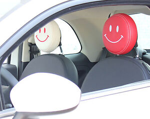 Details About Covers Head Rests Fiat 500 Smile Cream Red Or Black Show Original Title