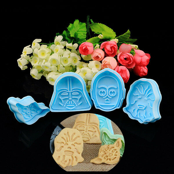 4Pcs Star Wars Character Plunger Cutter Decorating Fondant Cake Cookie Mold Tool