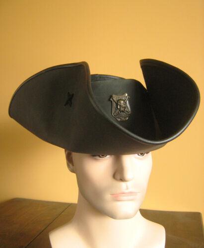 Serie Black Flag Pirate Medieval Renaissance Leather Tricorn Captain Hat Big