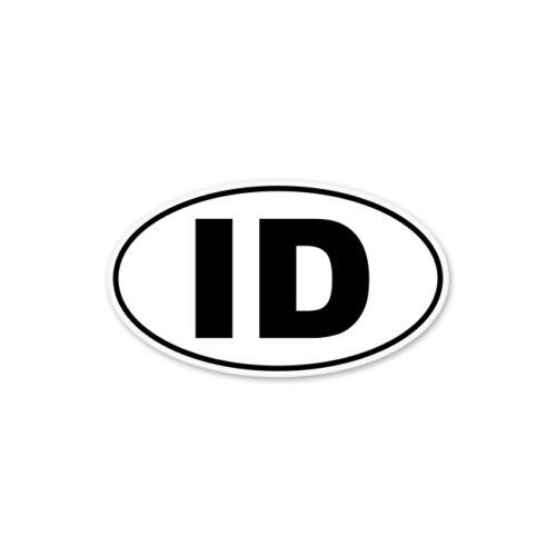 "Idaho ID White State Oval car window bumper sticker decal 5/"" x 3/"""