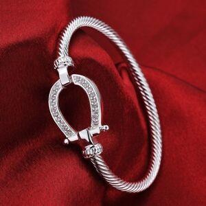 Silver-Filled-Horse-Shoe-Bangle-water-drop-Bracelet-fashion-jewelry