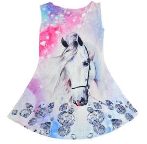 Mädchen Kleid Pferd Schimmel Sommerkleid Minikleid Tunika 4-14 Jahre