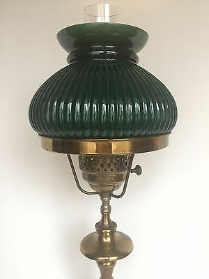 Vintage Solid Brass Student Table Desk Lamp Green Ribbed Glass Shade 22 In Tall