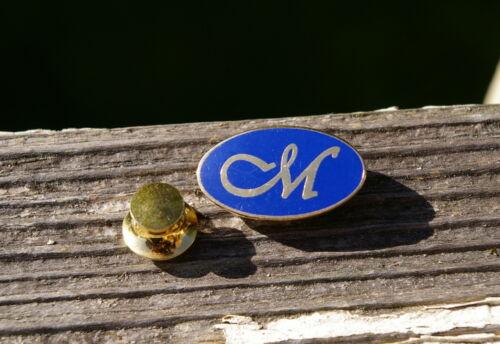 "Cursive Capital ""M"" Blue /& Gold Tone Metal Lapel Pin Pinback"