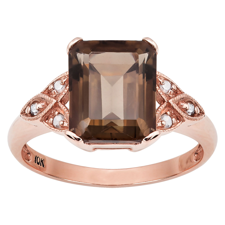 10k pink gold Vintage Style Emerald-Cut Smoky Quartz and Diamond Ring