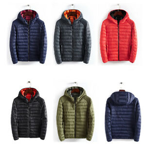 Mens-Padded-Jacket-Coat-Quilted-Puffer-Hooded-Bubble-Neck-Zip-Down-Winter-S-3XL