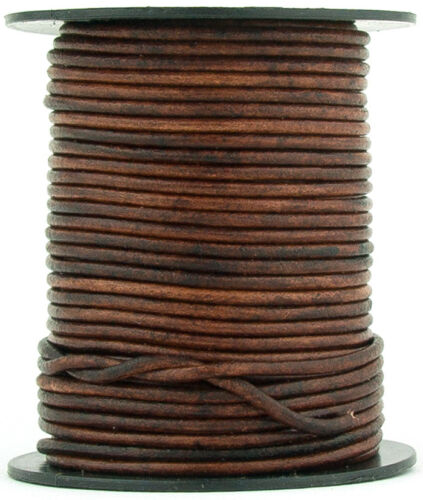 109 yards Xsotica® Brown Distressed Round Leather Cord 1.5mm 100 meters