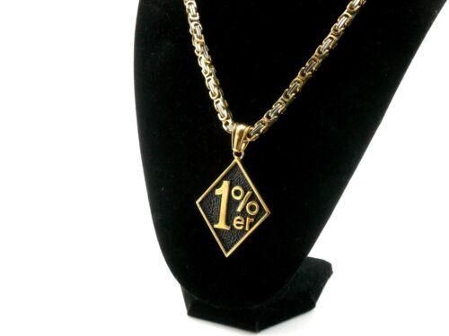 K-A14 1/%er Anhänger gold Biker Rocker Edelstahl Königskette gold//silber