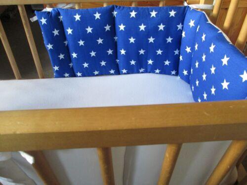 Cushi Cots Balançoire Berceau Pare-chocs Garçons étoiles blanches sur bleu royal NEUF