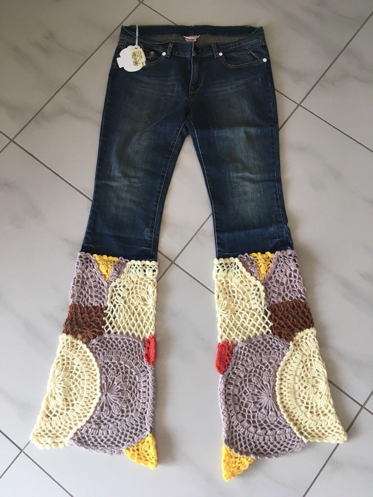 Nolita Pocket Jeans 14 Häkel Patchwork Blaumen Rar S 36 38 Sommer Hippie Style