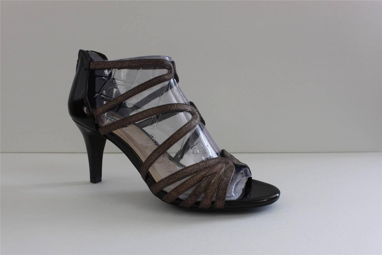 Alex Marie Francesca211Women's gold Leather Sandal Heel Pump shoes Size 8.5 M NIB